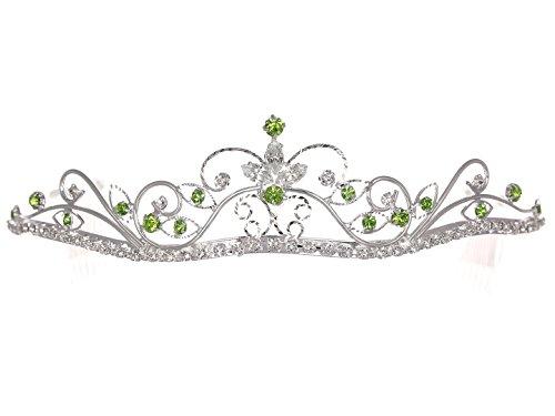 Tiara Green - Rhinestone Crystal Flower Prom Bridal Wedding