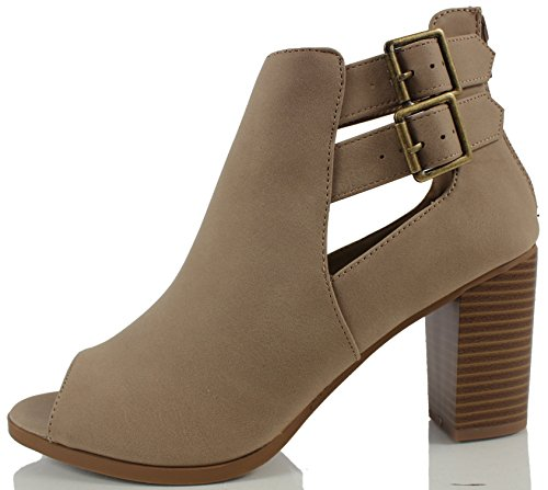 Soda Women's Wilma Faux Nubuck Leather Peep Toe Cut Out Side Buckle Stacked Heel Ankle Bootie