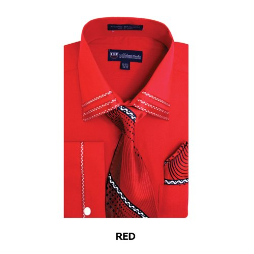 Milano Moda Fashion Shirt with Tie, Hankie & French Cuffs SG28-Red-19-19 1/2-36-37
