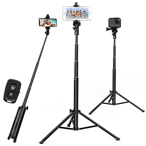 Selfie Stick Tripod 52 Inch Cell Phone Tripod Stand with Bluetooth Remote Smartphone for Iphone & Android Cellphone…