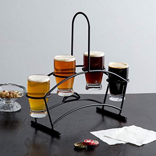 TableTop King Tasting Flight Set - 4 Barbary Sampler Glasses with Black Metal Taster Caddy