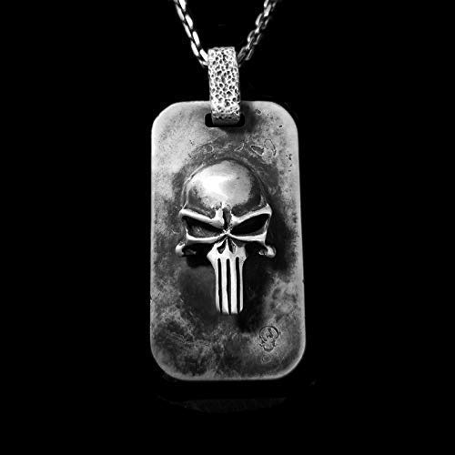 Free Gift Box Cosplay jewellery charm Punisher Pendant Necklace jewelry Silver or 18k Gold pendant The Punisher Skull Custom Engraving