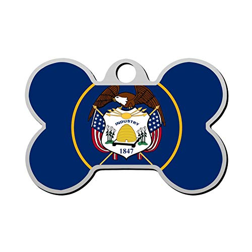 Mnxdine Utah Flag Bone Shape Pet ID Tags Personalized Dog Tags Front and Back Print Name Owner Number