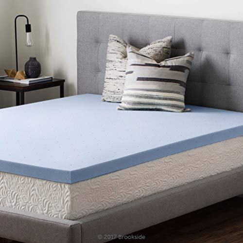 Brookside 2.5 Inch Gel Infused Memory Foam Mattress Topper-Twin, Blue (Memory Foam Twin Topper)