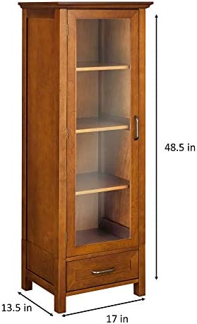 Amazon Com Elegant Home Fashion Avery Linen Tower Tall Slim Narrow Wooden Bathroom Kitchen Multifunctional Storage With Glass Panel Door 4 Tiered Shelves 1 Drawer Oil Oak Brown Furniture Decor