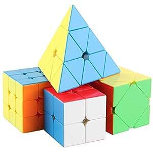 D-Fantix Speed Cube Bundle Pack MF2S 2x2 MF3R2S 3x3 Skewb Pyramid 3x3x3 Stickerless Magic Cube Puzzle Toys Collection Set