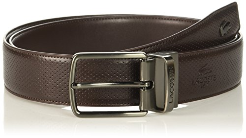 Lacoste Men's Classic Textured Leather Belt, Brown, 85 (Belt Brown Lacoste)