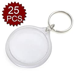 GOGO 25 PCS Acrylic Photo Keychains, 1-3/4 Inch Round Shape, Perfect for Number Tag