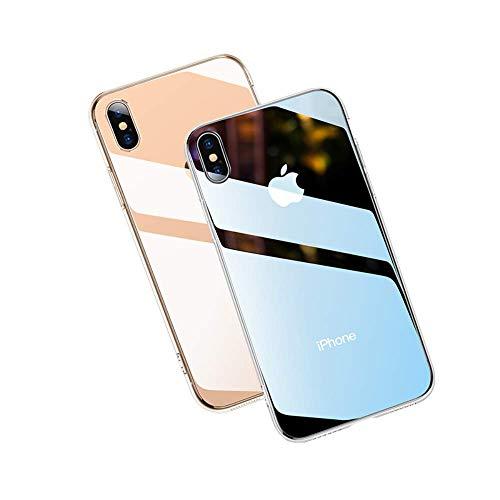 iPhoneXS케이스/iPhoneX케이스 [TPU범퍼+배면 유리] [렌즈 보호] [wireless 충전 대응] [미끄러져 방지황 변 방지 문질러 상처 방지] 초경량 고내구 아이 폰XS/X《스마호케스》 (5.8인치・클리어)