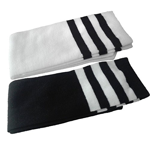 Child Baby Girls Boys Solid Color Striped Sport Knee High Socks 2-5 Pairs for 3-8 years (2 pairs black and white)