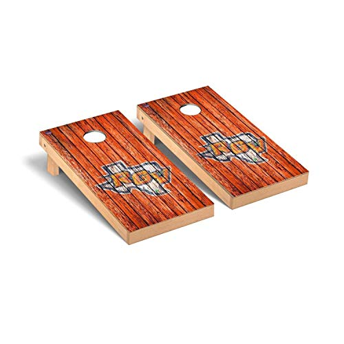 Victory Tailgate Regulation Collegiate NCAA Weathered Series Cornhole Board Set - 2 Boards, 8 Bags - Texas Rio Grande Valley Vaqueros