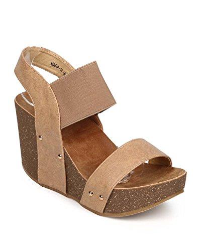 Cork Platform Wedges - Women's Wedge Platform Sandal Elastic Ankle Strap High Heel Cork Slip On Casual Summer Shoes Tan 8.5