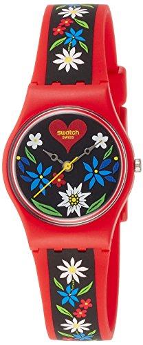 Swatch LR129 Ladies Roetli Red Silicone Strap Watch (Men Swatch Strap Original)