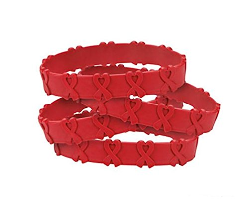 25 RED AWARENESS POP-OUT BRACELETS! HEART DISEASE, HIV/AIDS, SUBSTANCE (Heart Health Awareness Bracelet)