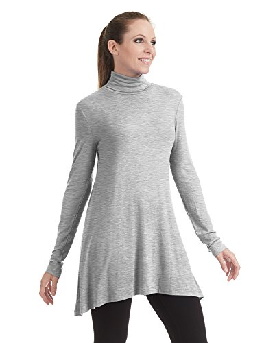 Come Together California CTC WT992 Womens Long Sleeve Turtleneck Sweater Tunic With Various Hem S Heather_Grey