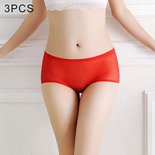 WANGJIANBOSEXYWEARS 3 PCS FunAdd Women Comfortable Transparent Seamless Panties Gauze + Cotton Sexy Triangle Panties, Free Size (Black) (Color : Wine Red)