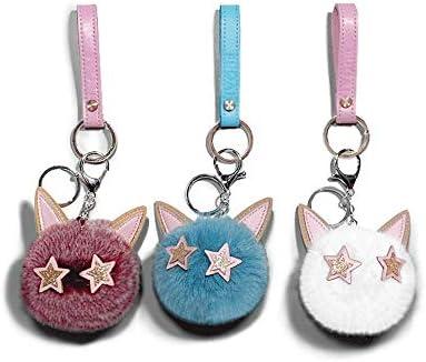 Yinghuawen かわいいぬいぐるみボール猫キーホルダーペンダント、キーリングチェーン、三枚(8 * 11センチメートル)