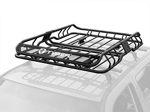 (Tyger Heavy Duty Roof Mounted Cargo Basket Rack | L47 x W37 x H6 | Roof Top Luggage Carrier | with Wind Fairing)