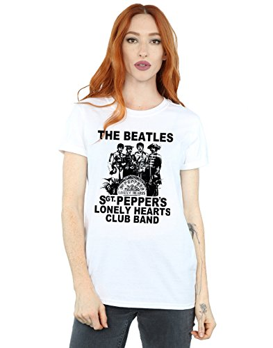 The Beatles Women's Lonely Hearts Club Band Boyfriend Fit T-Shirt Small White