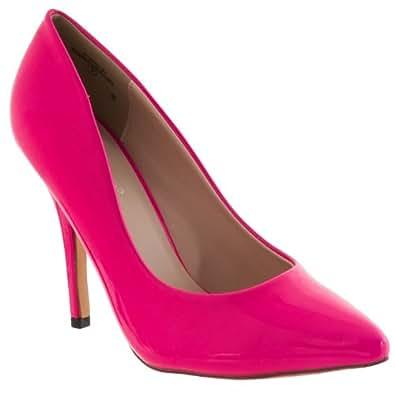 Pinky Womens Athena Pointed Toe Patent Stilettos, Fuchsia, 5.5