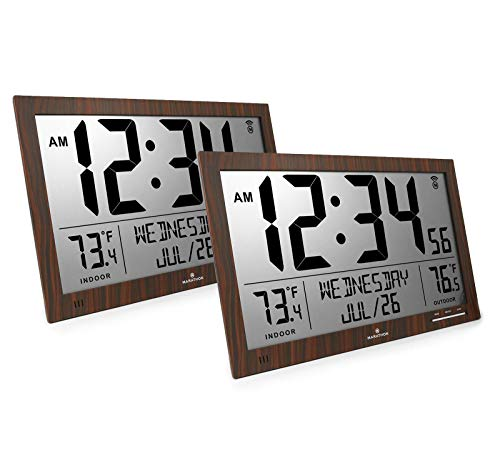 Marathon CL030066WD Slim Atomic Full Calendar Clock Bundle -