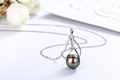 5946beff584 CHAULRI Authentic South Sea Tahitian Black Pearl Pendant Necklace 9-10mm  Round 18K Gold Plated 925 Sterling Silver - Jewelry Gifts for Women Wife  Mom ...