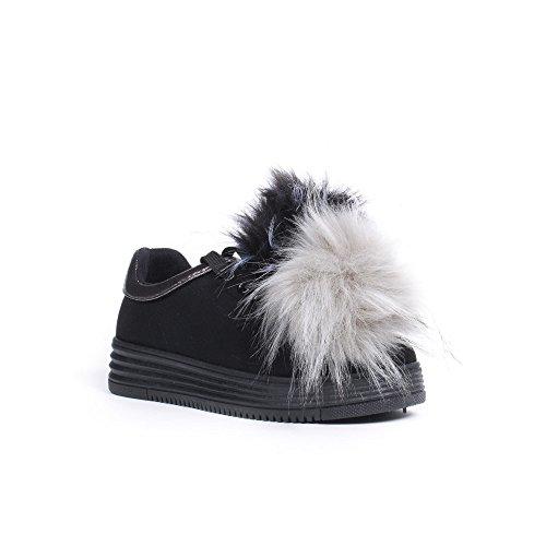 Fabienna en Fourrure Shoes Noir avec Daim Ideal Effet Baskets Pompons 14g8wC