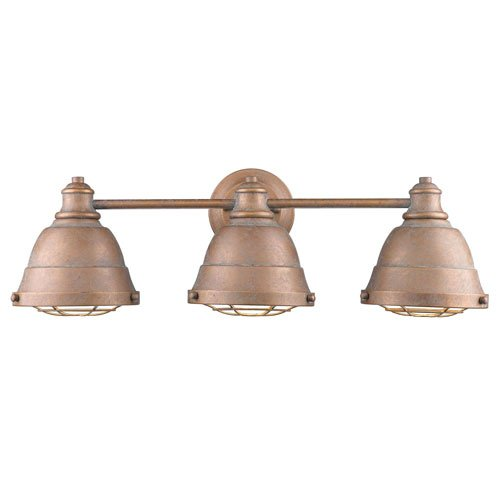 251 First Fulton Copper Patina 24-Inch Three-Light Bath Vanity with Copper Patina Shade Copper Bathroom Vanity Light