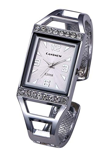 Top Plaza Womens Fashion Silver Analog Quartz Bangle Cuff Bracelet Watch Rectangle Case Arabic Numerals Rhinestones Dress Jewelry Wrist Watches 6.5 Inches #1