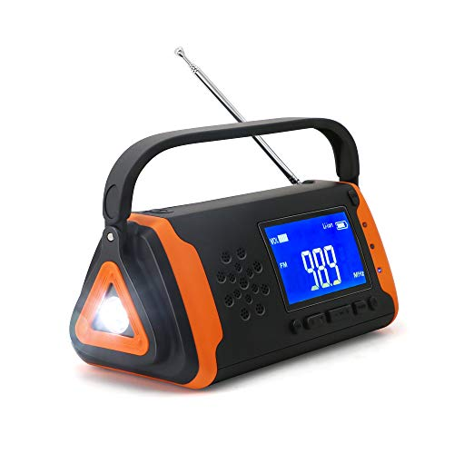 Emergency Weather Crank Radio 4000mAh - Portable Solar Powered with Hand Crank, AM/FM/NOAA Weather Alert Radio, Aux Music Play, USB Cell Phone Charger, SOS Alarm, LED Flashlight for Hurricanes - Cellular Radio
