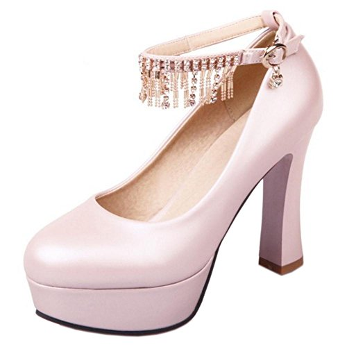 Trendy Shoes 50 Heels Women's TAOFFEN Pumps High Pink FwxgTcqxPH