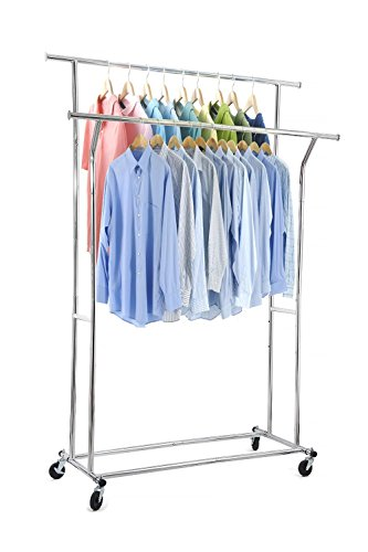 Home-it Double clothes rack heavy duty commercial grade (chrome) clothes rail for Clothing, Garment Rack Adjustable clothing rack, clothing rail