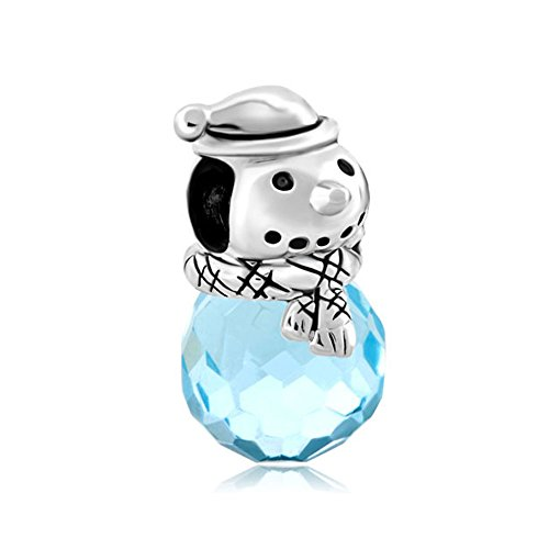 Korliya Christmas Snowman Blue Charm Bead For Bracelets (Snowman Charm Bracelet)