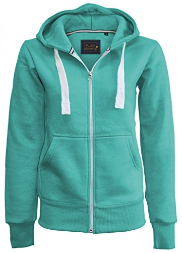 Ladies Girl NEW PLUS SIZE Zip Up Sweatshirt Hooded Hoodie Coat Jacket Top 8-5XL (L (US 8), Mint)