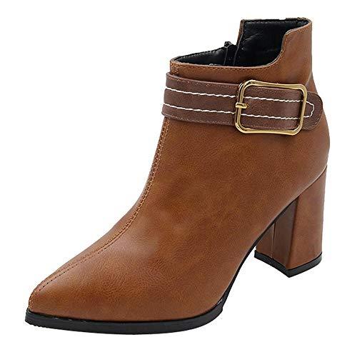 19d4ad2ec Marrón Cremallera Boot Color Tacon Planos Punta Logobeing De Zapatos Mujer  Sólido Redonda Botines Martain Plataforma Moda Casual Cuero Botas gPOqTUw