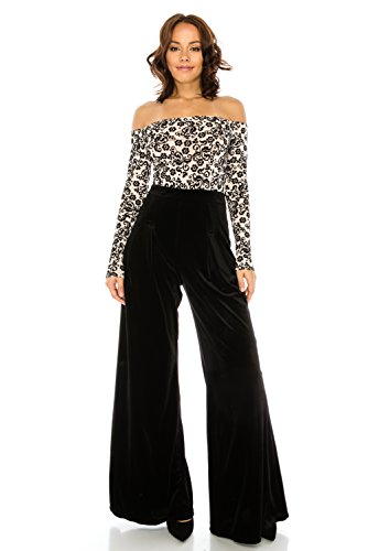 Women's Sexy Long Sleeve Flocking Floral Printed Mesh Top With Velvet Palazzo Pants (Velvet Pant Suit)