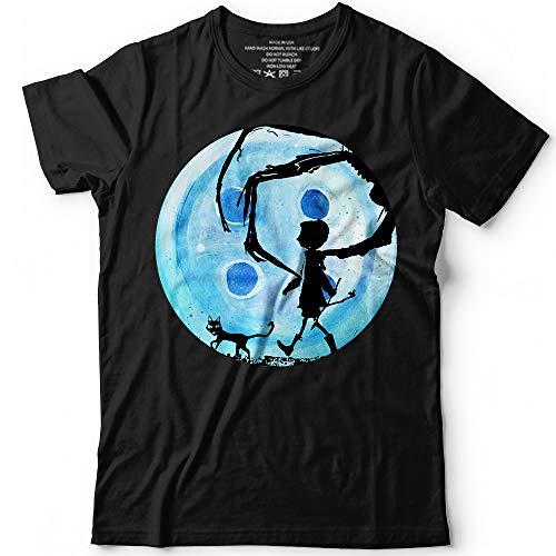 Coraline Blue Full Moon Nightmare Cat Halloween Horror Button Costume Customized Handmade T-Shirt Hoodie/Long Sleeve/Tank Top/Sweatshirt ()