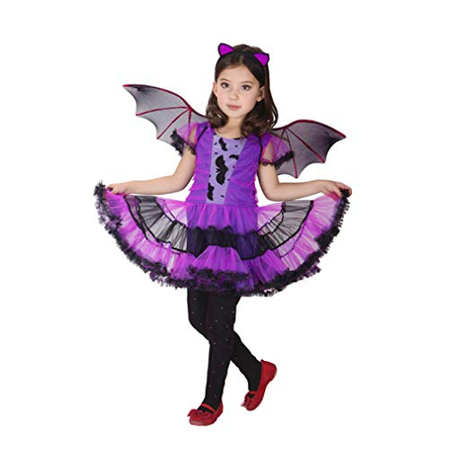 Spooktacular Girls' Purple Bat Costume Set with Dress and Wings, -