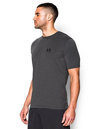 Under Armour Men's Charged Cotton Left Chest Lockup T-Shirt, Carbon Heather /Black, Small by Under Armour (Image #2)