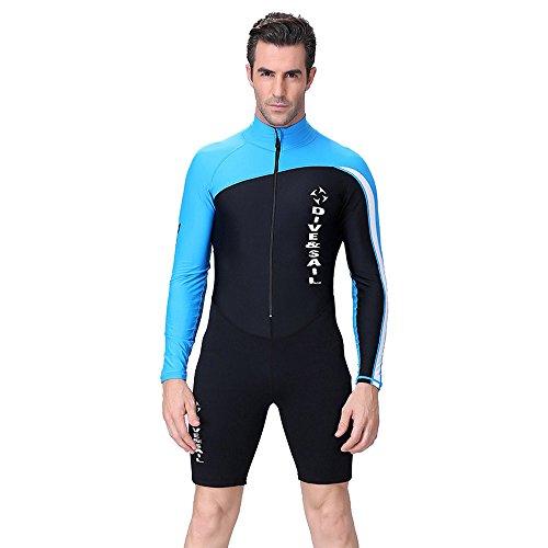 A Point Shorty Wetsuit Diving Suits Long-Sleeve Spring Suit Men/Women (XXL, men's blue)