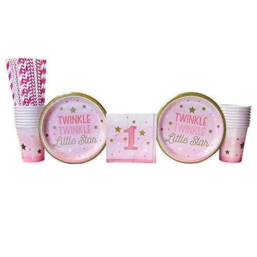 Twinkle Twinkle Little Star 1st Birthday Girl Party Supplies Pack for 16 Guests: Straws, Dessert Plates, Beverage Napkins, Cups