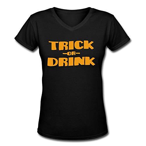 TangChuan Men's Trick OR Drink Halloween Funny V-Neck T-Shirt ()