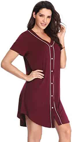 4a5486946fd Lusofie Nightgown Women s Long Sleeve Nightshirt Boyfriend Sleep Shirt  Button-up Lapel Collar Sleepwear