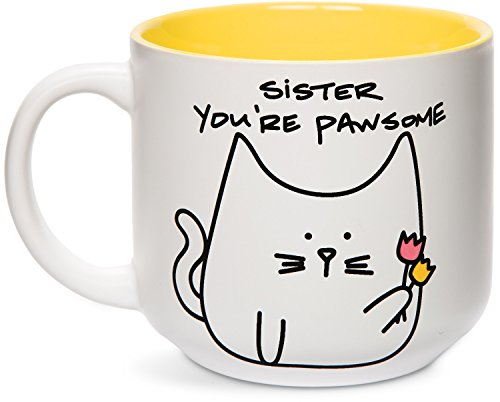 Pavilion Gift Company Blobby Cat, Funny Cat Sister You're Pawsome Mug, 18 oz, Yellow