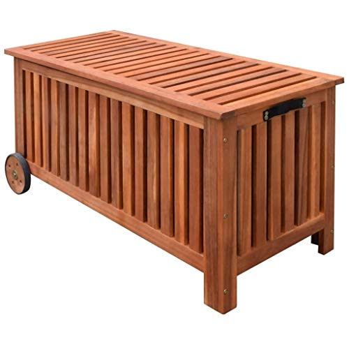 Festnight Wood Outdoor Storage Bench with 2 Wheels Garden Deck Box Container Multifunctional Patio Seat Furniture Pool Yard Container Suit for Both Outdoor and Indoor