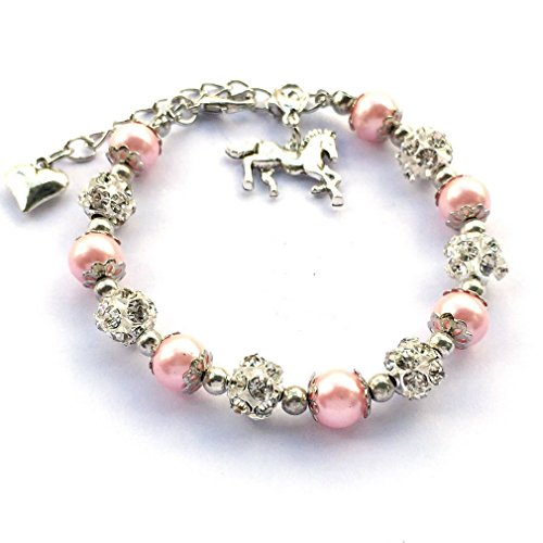 DOLON Pink Faux Pearls Girls Bracelet Jewelry Gift for Horse Lovers