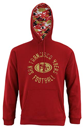 Zubaz NFL Men's Team Camo Lined Pullover Hoodie, San Francisco 49ers X-Large