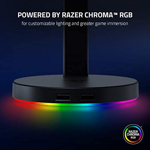 Razer Base Station V2 Chroma: Chroma RGB Lighting - Non-Slip Rubber Base - Designed for Gaming Headsets - Classic Black (RC21-01510100-R3U1)