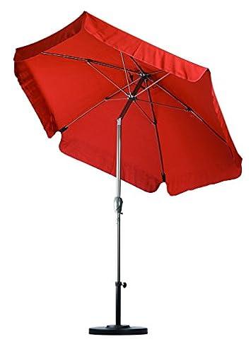 California Umbrella 7.5 Round Aluminum Pole Fiberglass Rib Umbrella, Crank Open, Push Button 3-Way Tilt, Champagne Pole, Brick Red