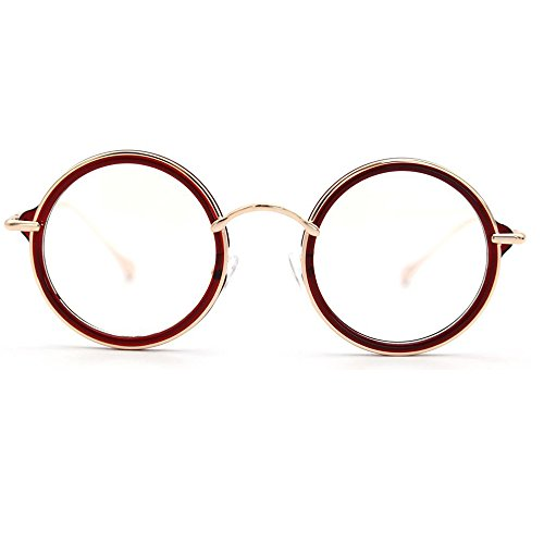 Natwve&Co Retro Round Clear Lens Optical Frames Vintage Eyeglasses New Fashion (58080) (Tortoise Red with Wine) (Red with Gold)